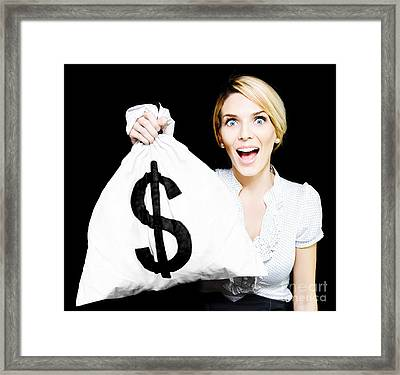 Euphoric Business Woman Holding Unexpected Windfall Framed Print