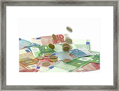 Euro Banknotes And Coins Framed Print