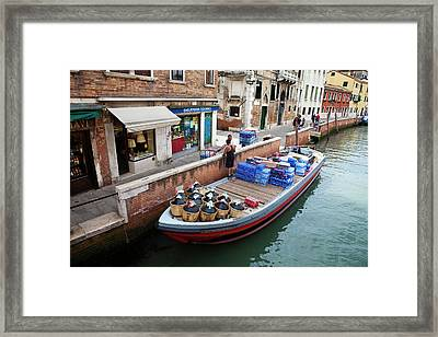 Europe Italy Venice Merchants Framed Print by Terry Eggers