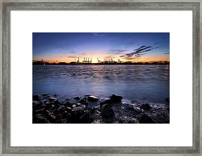 Framed Print featuring the photograph Evening At The Port Of Hamburg by Marc Huebner