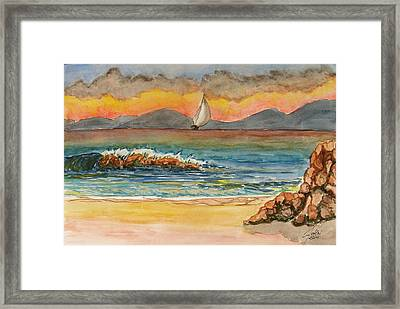 Evening In Beach Framed Print by Fethi Canbaz