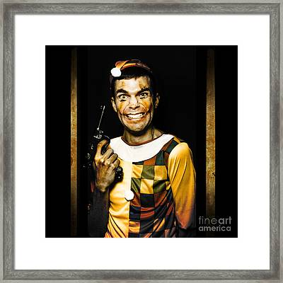 Evil Clown Holding Gun In Horror House Doorway Framed Print by Jorgo Photography - Wall Art Gallery
