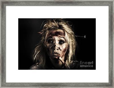 Evil Dead Female Zombie With Monster Headache Framed Print