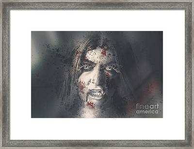 Evil Dead Vampire Woman Looking In Bloody Window Framed Print by Jorgo Photography - Wall Art Gallery