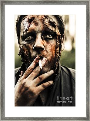 Evil Dead Zombie Smoking Cigarette Outside Framed Print by Jorgo Photography - Wall Art Gallery