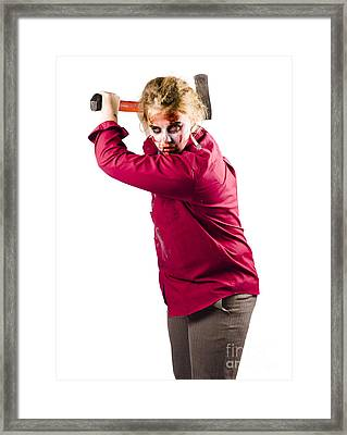 Evil Dead Zombie Swinging Axe Framed Print by Jorgo Photography - Wall Art Gallery