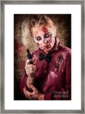 Evil Demented Zombie Holding Hand Gun. Robbery Framed Print