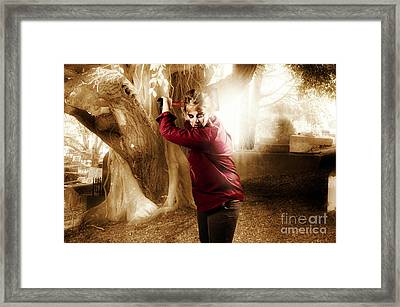 Evil Female Ghoul With Weapon. Axe Murderer Framed Print