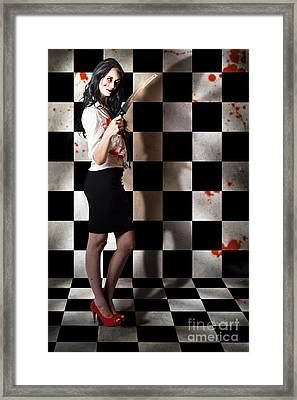 Evil Malicious Zombie Girl With Bloody Pruning Saw Framed Print by Jorgo Photography - Wall Art Gallery