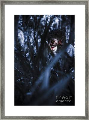 Evil Man Hiding In Silence At Dark Forest  Framed Print by Jorgo Photography - Wall Art Gallery