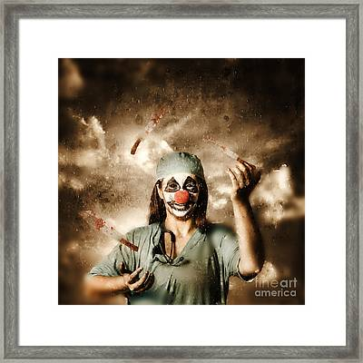 Evil Surgeon Clown Juggling Bloody Knives Outside Framed Print by Jorgo Photography - Wall Art Gallery