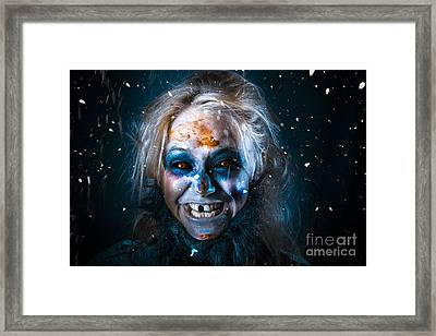 Evil Winter Monster Smiling Beneath Falling Snow Framed Print