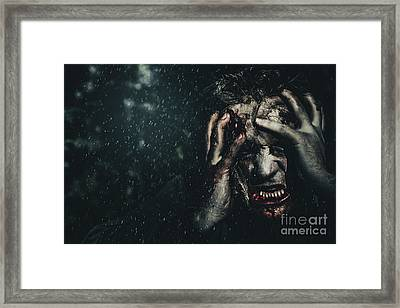 Evil Zombie Man In Fear At Dark Haunted Forest Framed Print