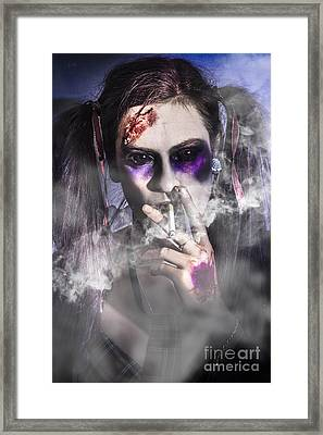 Evil Zombie Schoolgirl Smoking Cigarette Framed Print by Jorgo Photography - Wall Art Gallery