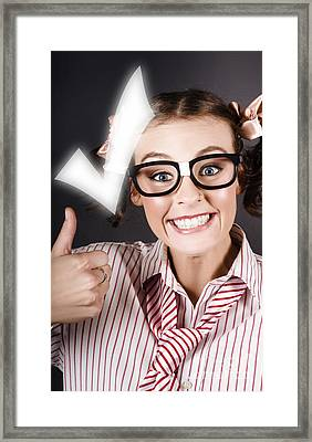 Excited Business Woman With Huge Tick And Thumb Up Framed Print by Jorgo Photography - Wall Art Gallery