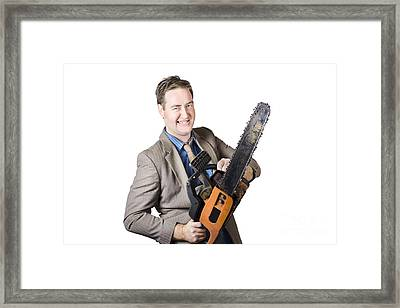 Excited Businessman With Chainsaw Framed Print by Jorgo Photography - Wall Art Gallery