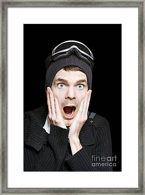 Excited Face Of A Surprised Man Wearing Ski Gear Framed Print