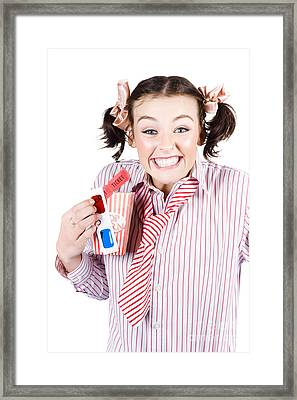 Excited Girl With 3d Movie Glasses Framed Print