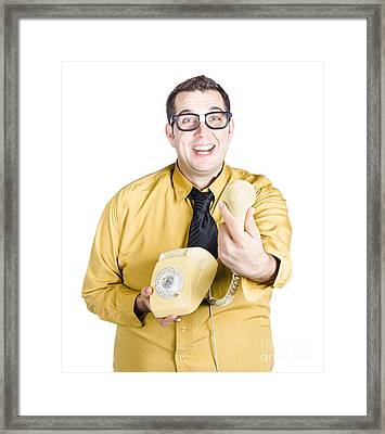 Excited Man Handing Over Telephone Framed Print by Jorgo Photography - Wall Art Gallery