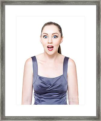 Excited Surprised And Awestruck Business Woman Framed Print by Jorgo Photography - Wall Art Gallery