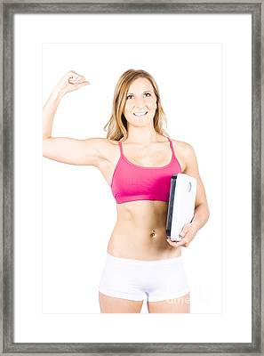 Excited Weight Loss Woman Over White Background Framed Print