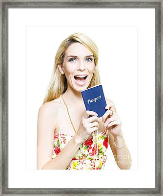 Excited Woman Clutching A Passport Framed Print