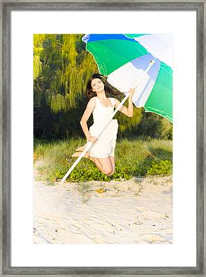 Excited Woman Framed Print by Jorgo Photography - Wall Art Gallery