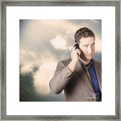 Executive Business Man On Cell Phone Outdoors Framed Print by Jorgo Photography - Wall Art Gallery