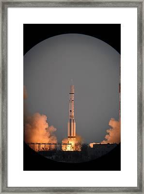 Exomars Spacecraft Launch Framed Print by European Space Agency/stephane Corvaja
