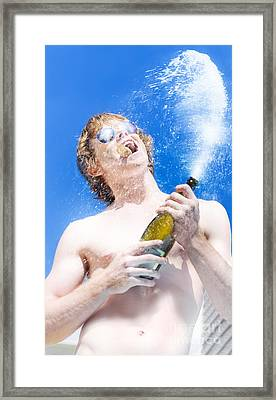 Exploding Champagne Spray Framed Print by Jorgo Photography - Wall Art Gallery