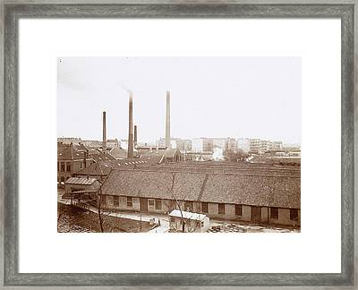 Exterior Of Factory Buildings With Chimneys Framed Print