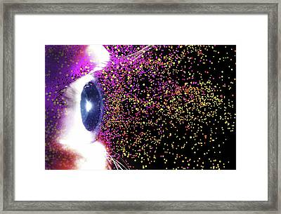 Eye And Colourful Particles Framed Print by Alfred Pasieka