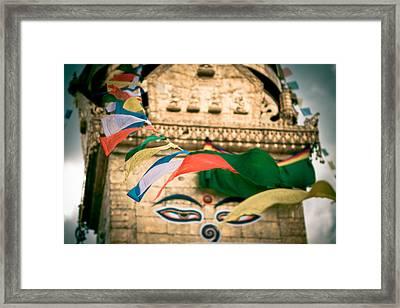 Eye Boudhanath Stupa In Nepal Framed Print by Raimond Klavins
