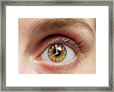 Eye With Clock Framed Print by Victor De Schwanberg