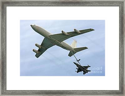 F16 Jet Being Refueled By A Boeing 707 Framed Print by PhotoStock-Israel