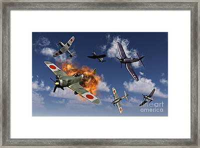 F4u Corsair Aircraft And Japanese Framed Print