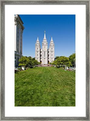 Facade Of A Church, Mormon Temple Framed Print by Panoramic Images