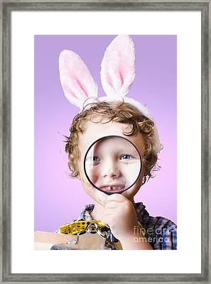 Face Of A Cute Kid On A Easter Hunt For Chocolate Framed Print