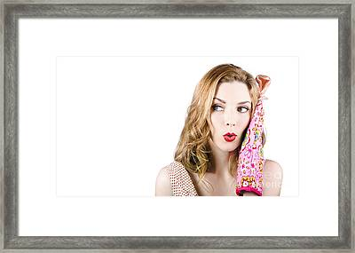 Face Of A Funny Cook Housewife. Recipe Copy Space Framed Print by Jorgo Photography - Wall Art Gallery
