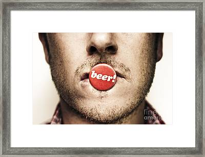 Face Of A Man With Beer Badge Framed Print