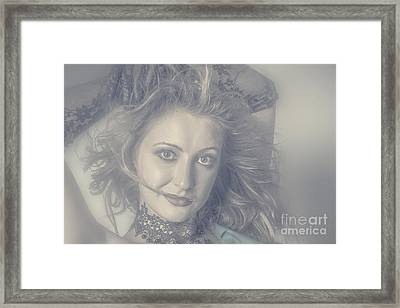 Face Of Beautiful Woman In Makeup Close-up Framed Print