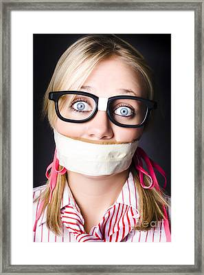 Face Of Nerdy Geek Gobsmacked By Silence Framed Print by Jorgo Photography - Wall Art Gallery