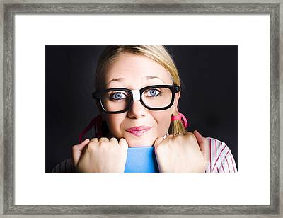 Face Of Smart Schoolgirl Holding Textbook On Black Framed Print by Jorgo Photography - Wall Art Gallery
