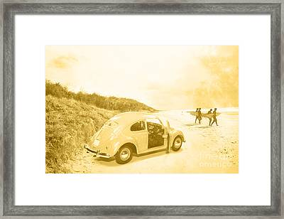 Faded Film Surfing Memories Framed Print