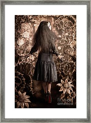 Fairy Tale Girl Walking Through Secret Garden Framed Print