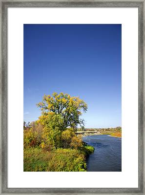 Fall Color And River Scene Framed Print