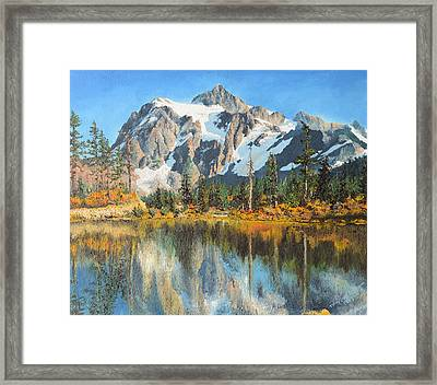 Framed Print featuring the painting Fall Reflections - Cascade Mountains by Mary Ellen Anderson