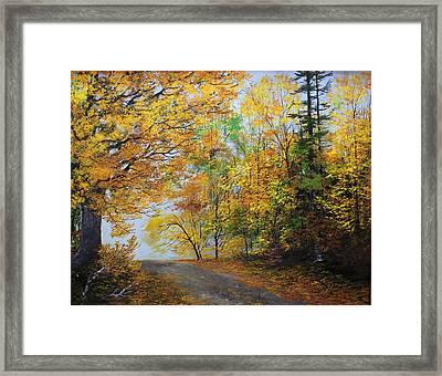 Fall Road Framed Print by Ken Ahlering