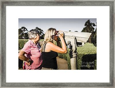 Family On Summer Vacation Looking Though Telescope Framed Print
