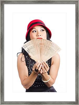 Fan Of Asia. Stylish Chinese Lady With Oriental Fan Framed Print by Jorgo Photography - Wall Art Gallery